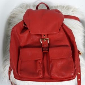 Esquire red leather backpack